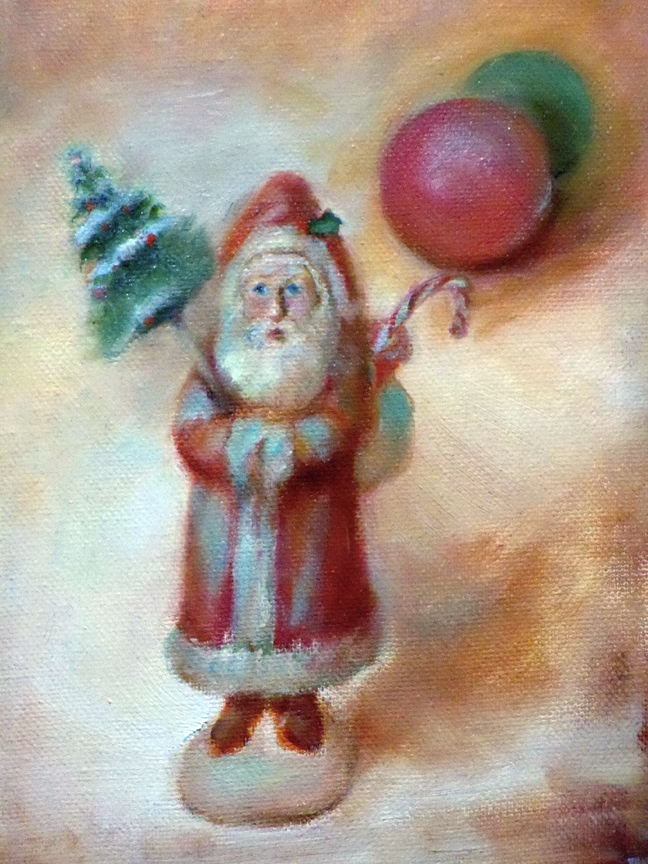oil painting of victorian santa
